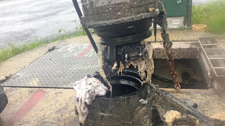 Huntly's Baker Street pump station blocked with rags