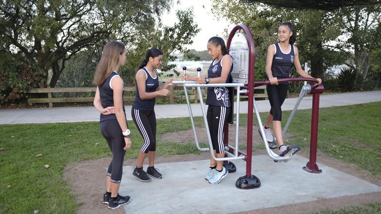 High School students on the Ngaruawahia Fitness Trail