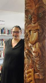 Tipa Mahuta, pictured with the new carving in the Sir Robert Mahuta room, named after her father.